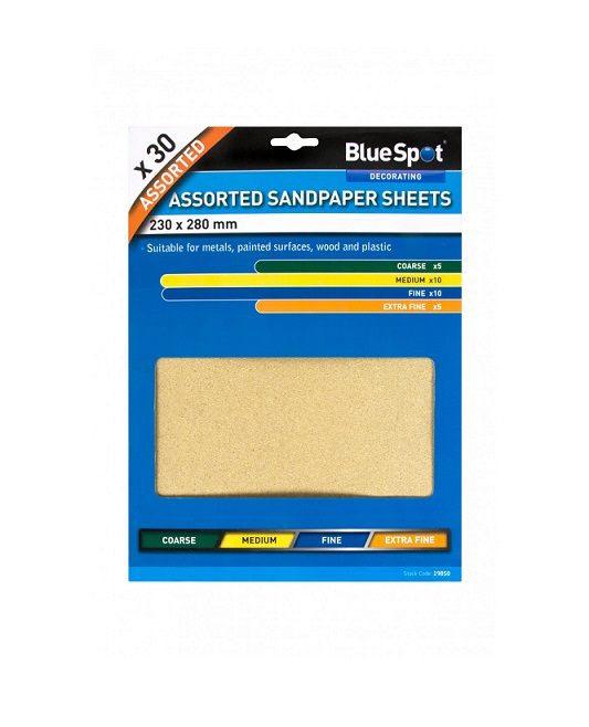 BlueSpot 30 Pce Assorted Sandpaper Sheets