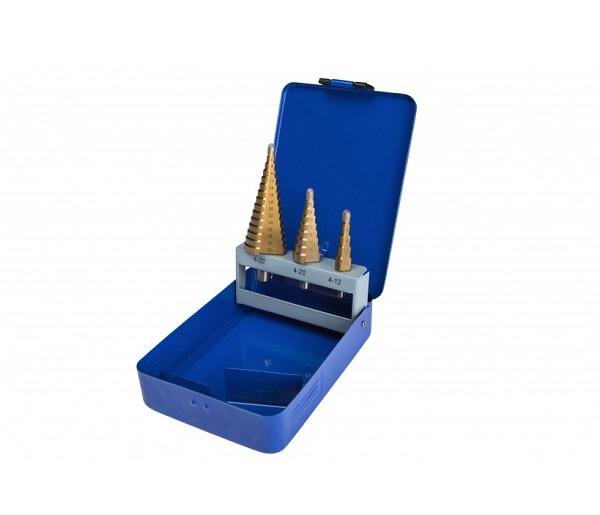 BlueSpot Titanium coated 3PCE HSS Step Drill Set (4-32mm)