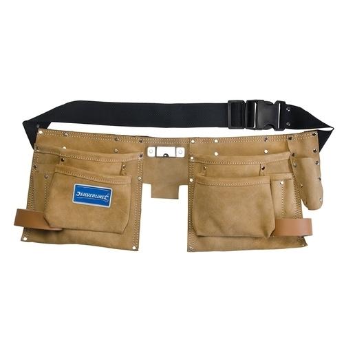 Silverline Heavy Duty Double Pouch Tool Belt 8 Pocket