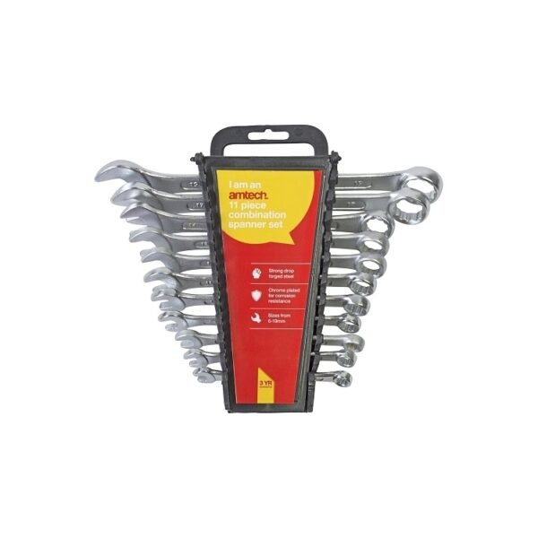 Am-Tech 11pc Combination Spanner Set With Rack