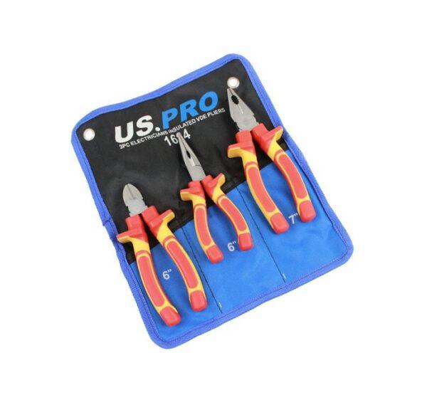 US Pro 3 Pc Electricians Insulated VDE Plier Set