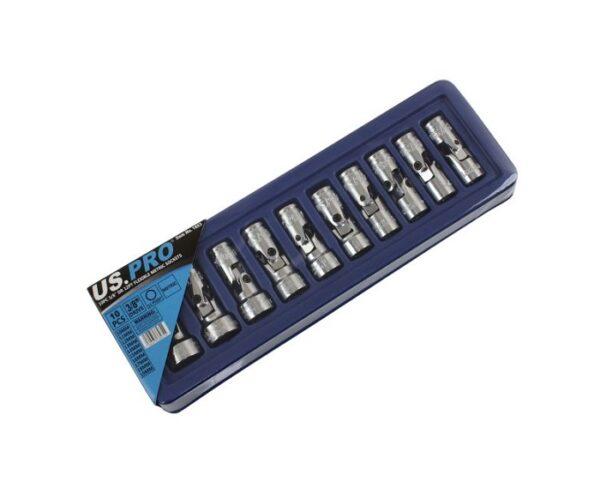 US Pro 10PC 3/8″ Dr 12PT Flexible Metric Sockets