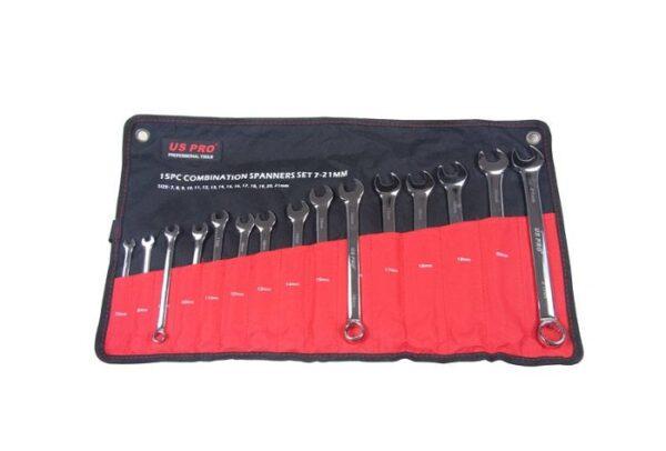 US Pro 15 Pc Combination Spanner Set 7-21mm