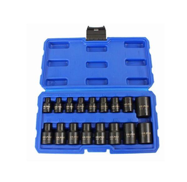 US Pro 17Pc  3/8″ & 1/2″ Dr E Torx Impact Sockets